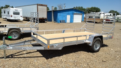 2017 C&B Aluminum Trailer with rear ramps and wooden deck.  Available at Terrys Truck and RV in mountain Home Idaho.