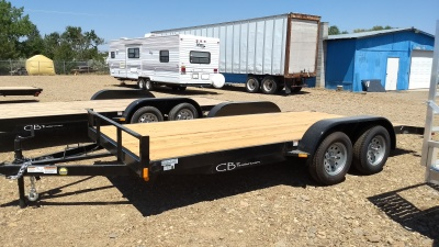 2017 C&B Steel 16' Trailer with wooden deck.  Dovetail design and a 7k rating.  Available at Terrys Truck and RV in mountain Home Idaho.