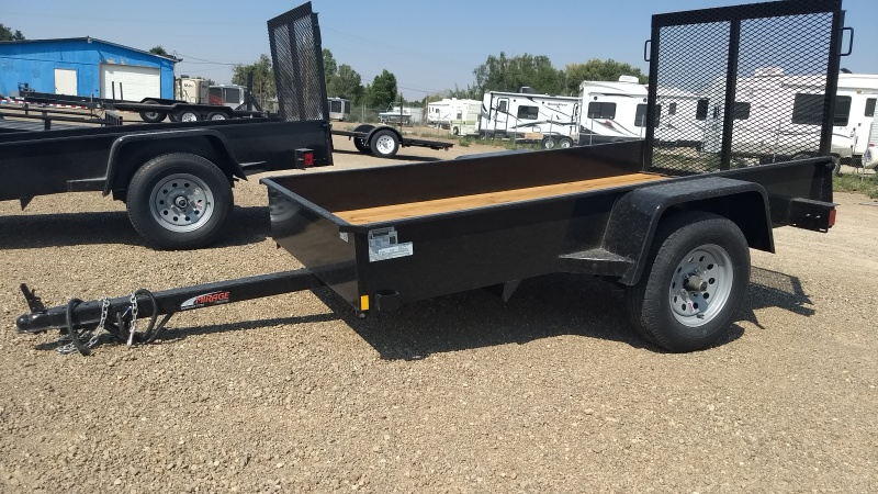 2017 Mirage 4x8 Single Axel Utility Trailer in Black with Rear Ramp available at Terrys Truck and RV in Mountain Home Idaho