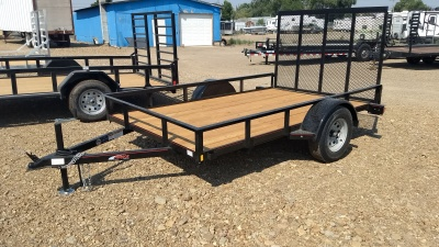 2017 Mirage Utility Trailer with rear ramp and wooden deck.  Available at Terrys Truck and RV in mountain Home Idaho.