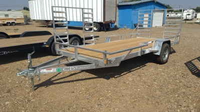 2017 C&B 6x14 Aluminum Trailer with rear and side ramps and wooden deck.  Available at Terrys Truck and RV in mountain Home Idaho.