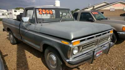 Primer Grey 1977 Ford F-150 in a idaho field