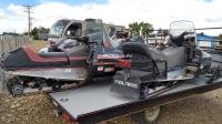 3 Polaris Snowmobiles on a black trailer in Mountain Home, Idaho