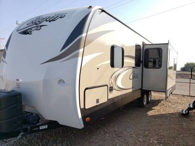2018 Keystone Cougar 26SABWE Driver side angle with slide outs