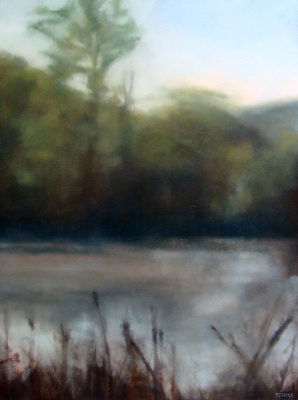 river, oil painting, Summer, leaves, misty, foggy, ethereal, landscape, blue, green, vertical, pond, lake, water