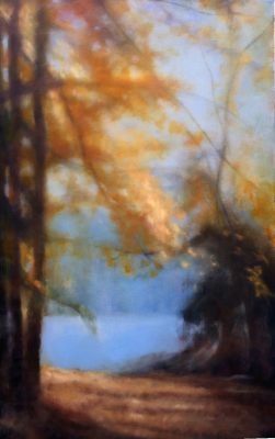 river, oil painting, Fall, leaves, misty, foggy, ethereal, landscape, blue, green, vertical, pond, lake, water, path, orange