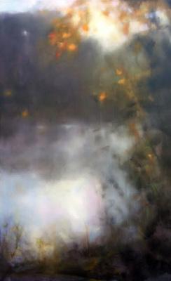 Sunrise, river, oil painting, Summer, leaves, misty, foggy, ethereal, landscape, blue, green, vertical, pond, lake, water