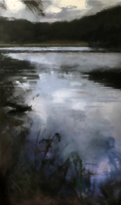 river, oil painting, Summer, leaves, misty, foggy, ethereal, landscape, blue, green, horizontal, pond, lake, water