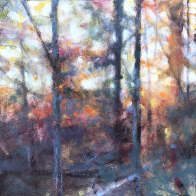 river, oil painting, fall, leaves, misty, foggy, ethereal, landscape, blue, orange, square