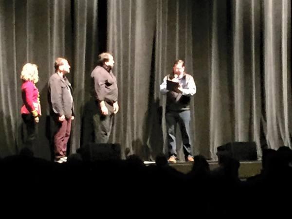 The Mayor reads the proclamation as Deej, Scott & Paul watch on