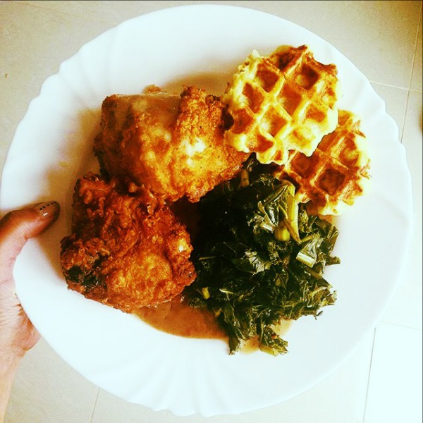 Fried Chicken, Potato Waffles, Collard Greens, Red Eye Gravy
