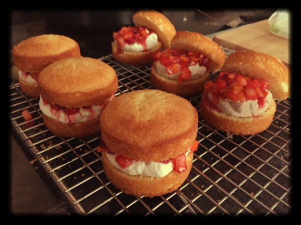 Mini sponges, strawberry and kumquat compote, chantilly cream