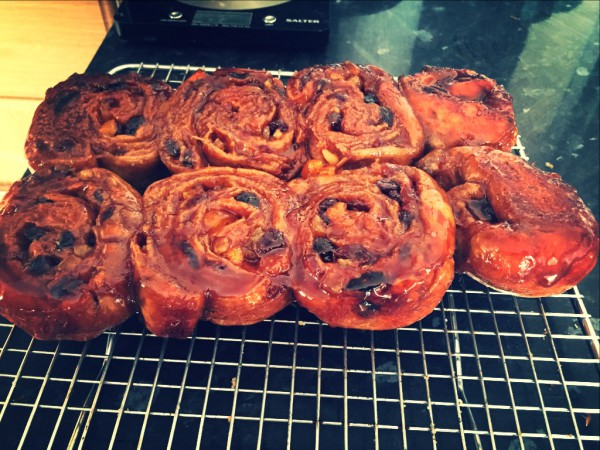 Cinnamon spiced chelsea buns, mixed dried fruit, caramel coating