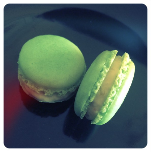 Gooseberry mousse filled macarons