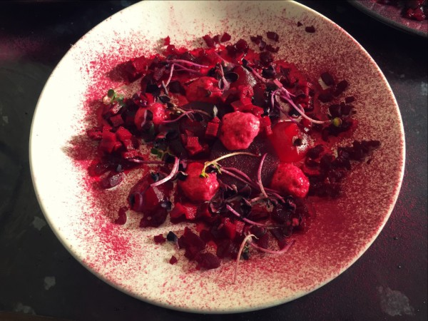 Beetroot panna cotta, beetroot and yuzu gel, roast beetroot, amazu pickled beetroot, ruby chard, beetroot powder