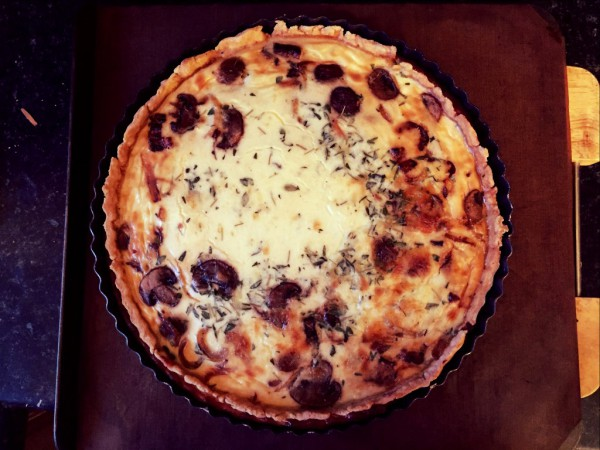 Homemade bacon, cheddar, mushroom, onion and thyme quiche