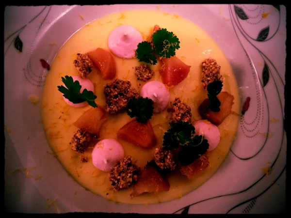 Lemon posset, roast white peach, rose meringue, white chocolate clusters, coriander