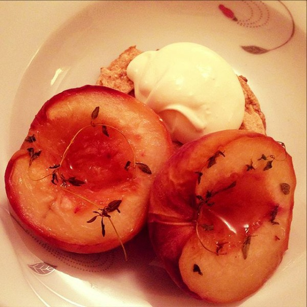Thyme roasted white peaches, hazelnut meringue, almond cream