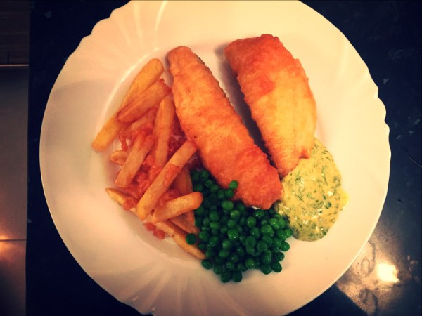 Beer battered bass, triple cooked chips, homemade tartare, peas