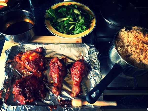 Korean fried chicken, nasi goreng rice, japanese dressed salad
