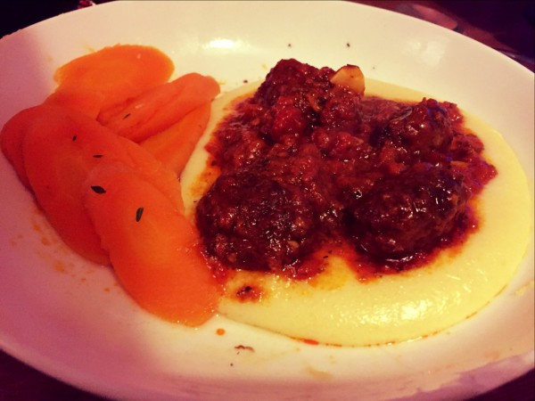 Meatballs in a spicy tomato sauce, Heston Blumenthal mashed potatoes, carrots cooked in thyme and butter