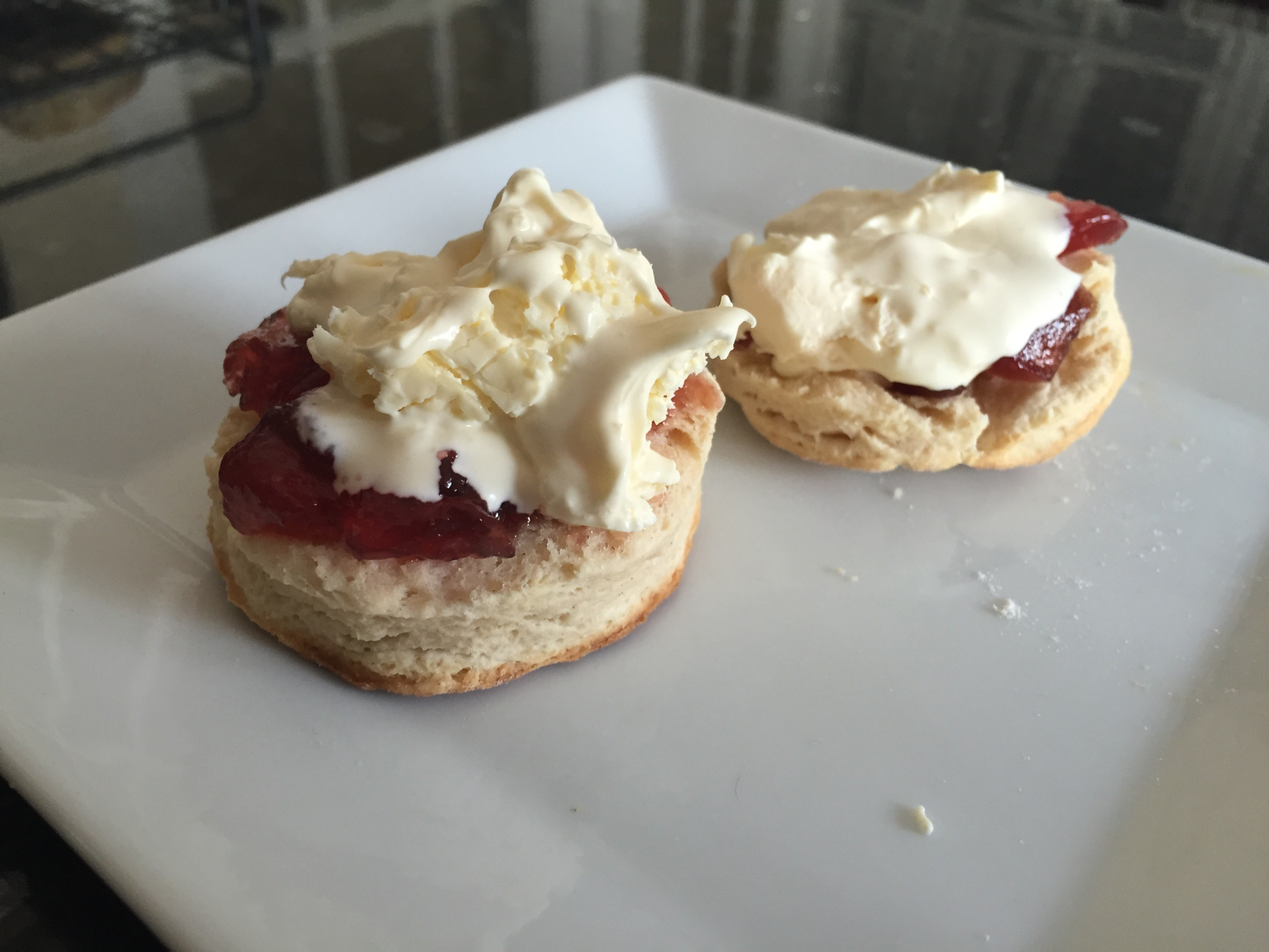 Homemade scones, strawberry jam and clotted cream