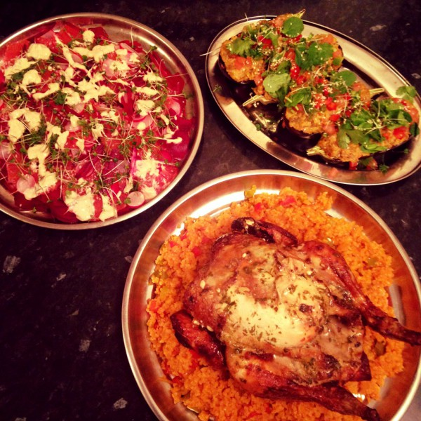 Chamomile roast chicken, tomato and pepper bulgur wheat, stuffed spicy aubergine; beetroot, radish and grapefruit salad