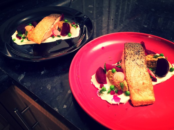 Fried salmon, roasted beetroot, pickled beetroot, goat's cheese mousse, aubergine puree, peas