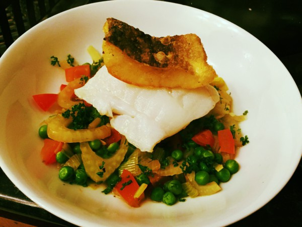Sous vide cod, cod tempura, potato fondant, vegetable fricassee