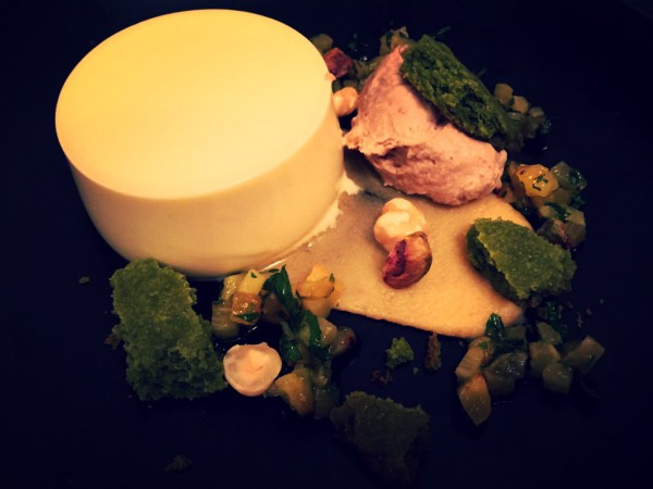 White chocolate panna cotta, green tea shortbread, salted toffee sauce, pineapple salsa, chestnut puree