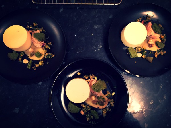 White chocolate panna cotta, green tea shortbread, toffee sauce, pineapple salsa, chestnut puree