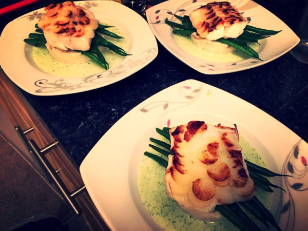 Haddock with potato scales, haddock brandade, green beans, parsley sauce