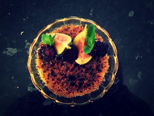 Coconut Crème brûlée, blackberries, figs