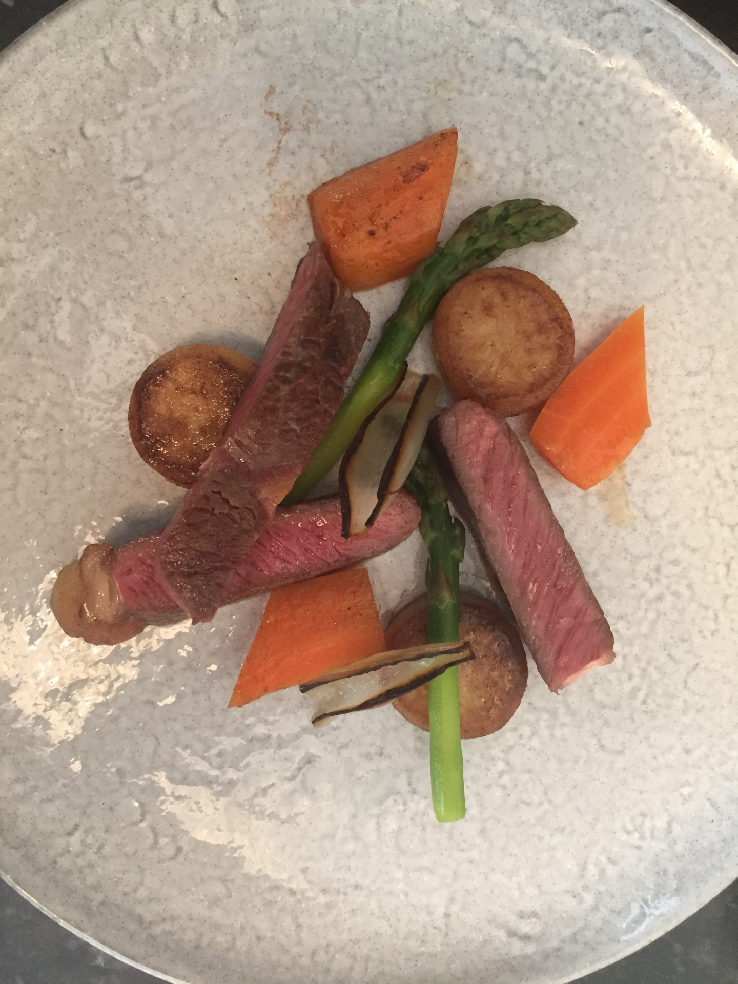 Sirloin steak, potato fondants, glazed carrots, asparagus, shallots, beef and sherry sauce