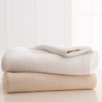 Grand Patrician White and Natural Cotton Blankets