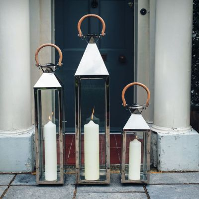 Stainless Steel Venetian Lanterns With Wooden Handle