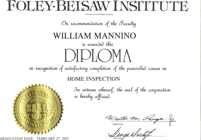 Diploma from Foley-Belsaw Home Inspection Course