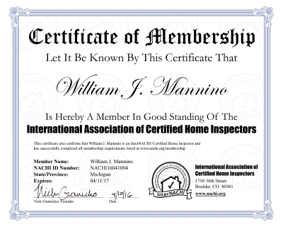 Certificate Of interNACHI membership