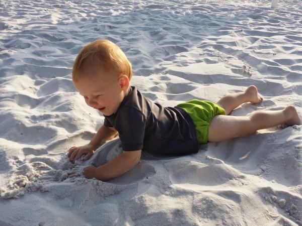 Wyatt in the sand @ Mirimar Beach