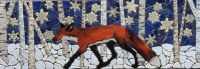 fox, birch, backsplash, back splash, tile, mosaic, hearth, pool, interior design, doorbells, design, kitchen, bath, floor, art tile, mosaic tile, leaf tile, animal tile, stoneleaf tile, stoneleaf, stoneware, ceramic