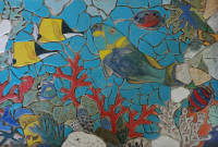 reef, reef fish, coral, tropical, backsplash, back splash, tile, mosaic, hearth, pool, interior design, doorbells, design, kitchen, bath, floor, art tile, mosaic tile, leaf tile, animal tile, stoneleaf tile, stoneleaf, stoneware, ceramic