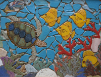 reef, coral, coral reef, fish tropical fish, reef fish, coral reef mosaic, backsplash, back splash, tile, mosaic, hearth, pool, interior design, doorbells, design, kitchen, bath, floor, art tile, mosaic tile, leaf tile, animal tile, stoneleaf tile, stoneleaf, stoneware, ceramic