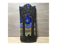 art nouveau, doorbell, door bell, peacock, feather, doorbell plate, buzzer, butterfly, chicken, moth, stoneware, stoneleaf, stoneleaftile, tile, mosaics