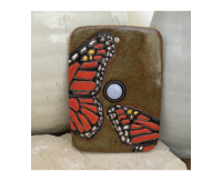 doorbell, door bell, peacock, feather, doorbell plate, buzzer, monarch, butterfly, chicken, moth, stoneware, stoneleaf, stoneleaftile, tile, mosaics