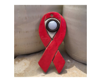 doorbell, red, door bell, doorbell plate, buzzer, ribbon yellow ribbon, awareness ribbon,