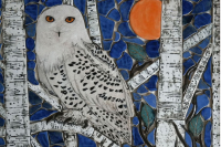 snowy owl, birch, backsplash, back splash, tile, mosaic, hearth, pool, interior design, doorbells, design, kitchen, bath, floor, art tile, mosaic tile, leaf tile, animal tile, stoneleaf tile, stoneleaf, stoneware, ceramic