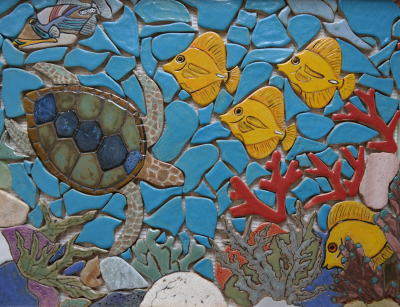 sea turtle tile, turtle, reef, coral reef, coral, yellow tang, tropical fish, reef mosaic,