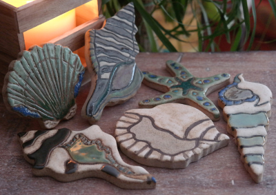 tile, art tile, shell tile, mosaics, back splash, backsplash, pool, patio, beach decor, stoneleaf, stoneleaftile, stoneware, clay, ceramic, doorbells, sea turtle, starfish, sand dollar, shells, seashells, hearth, nautilus, interior design, kitchen, bath