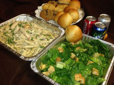 Lunch package with pasta and salad rolls and drinks