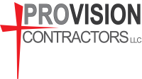 Provision Contractors, roofing, siding, windows, gutters, logo, brunoxdesigns